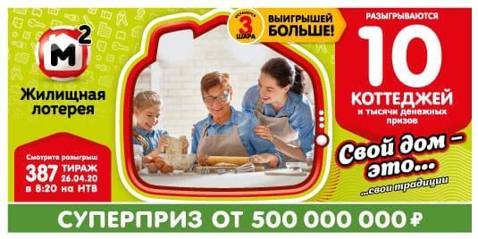 жилищная лотерея 387 тираж